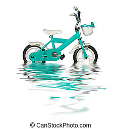 children's bicycle in a water