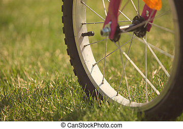 Children's bicycle on green grass, close up photo