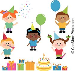 Children's birthday party, cake and presents. Vector illustration
