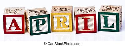 Kids playing blocks month April