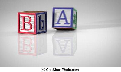 """Children's Blocks Spelling """"BABY"""""""