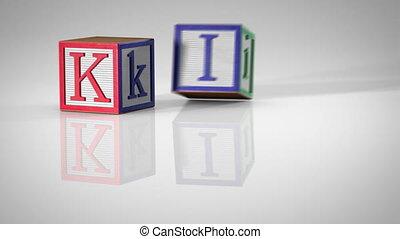 """Children's Blocks Spelling """"KIDS"""""""
