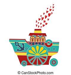 Children's boat. Icon colorful boats. Vector illustration.