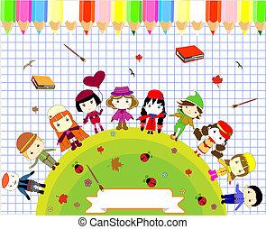Children's books and colors naive style seamlessore
