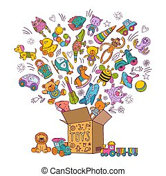 Childrens box for toys. Doodle pictures vector illustration