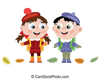 Childrens - Boy and girl go to school