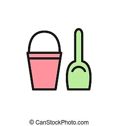 Childrens bucket with spatula flat color icon.
