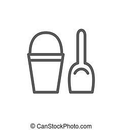 Childrens bucket with spatula line icon.