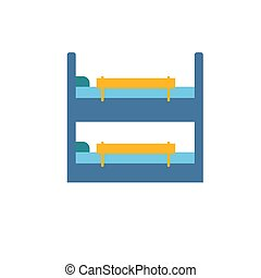 Childrens bunk bed with colorful bright safety rails. Furniture for a children s room. Isolate on a white background.