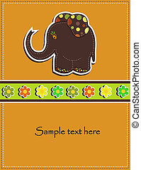 card with a brown elephant