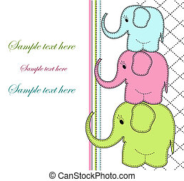 Childrens card with three elephants