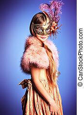 childrens carnival - Beautiful little girl in festive dress...