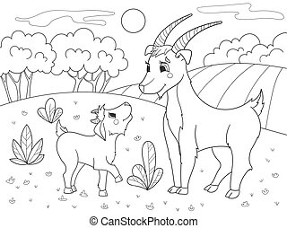 Childrens cartoon coloring book. A family of goats in a meadow.