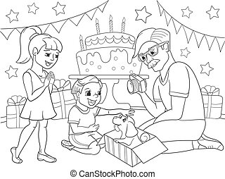 Childrens cartoon coloring of the holiday. Birthday with gifts, a memorable shot. The boy present a puppy to the boy.