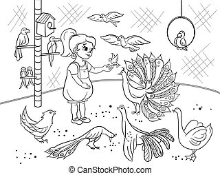Childrens cartoon coloring the contact birds zoo. Bird black and white picture book. Ornithology for the girl