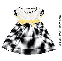 Childrens checkered dress isolated on white background