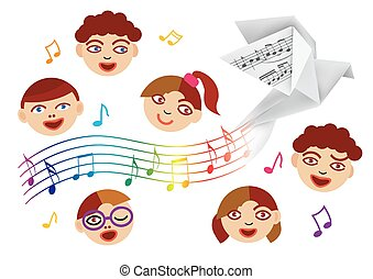 Children's Choir and paper dove with musical notes.