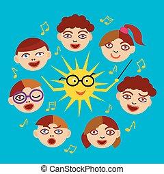 Children's Choir and sun