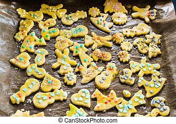 childrens christmas cookies on a tray