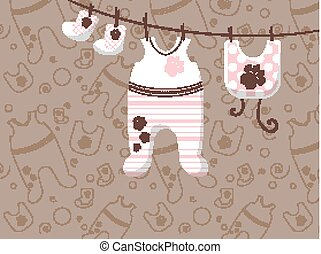 childrens clothes are hung on ropes. Advertising banner for stores. Vector