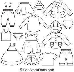Children\'s clothing. A set of different types of clothing .
