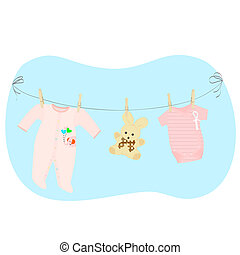 children's clothing on a clotheslin