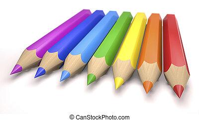 Children's color pencils (3d illustration).