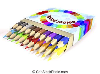 Children's color pencils in box (3d illustration).