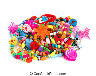 children's plastic, wooden and glass colored trinkets