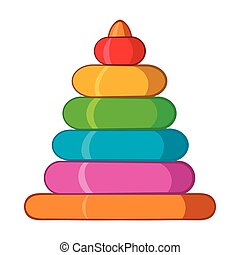 Childrens colorful pyramid icon, cartoon style