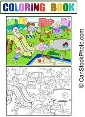 childrens, coloring., イラスト, ベクトル, 黒, 運動場, 白