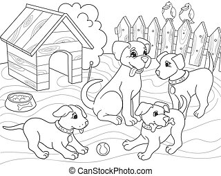 Childrens coloring book cartoon family on nature. Mom dog...