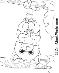 Childrens coloring book cartoon family of lemurs on nature.