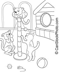 Childrens coloring book cartoon family on nature. Cat and kittens children