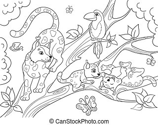 Childrens coloring book cartoon family of leopards on...