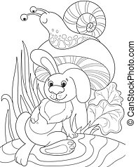 Childrens coloring cartoon animal friends in nature. Rabbit...
