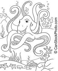 Childrens coloring cartoon animal friends in nature. Underwater world, octopus on the ocean floor