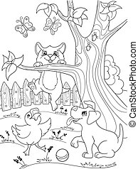 Childrens coloring cartoon animals friends in nature. Duckling, puppy and kitten. Duck, dog and cat