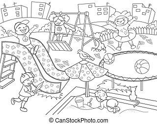 childrens, coloring., ilustración, vector, negro, patio de recreo, blanco