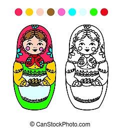 Russian dolls - matryoshka - children's coloring. Russian...