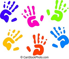 childrens colourful hand prints isolated on white