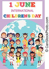 Childrens Day Poster with Kids on Earth Symbol