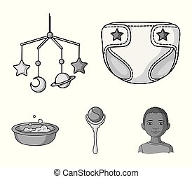 Children's diapers, a toy over the crib, a rattle, a children's bath. Baby born set collection icons in monochrome style vector symbol stock illustration web.