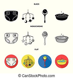 Children's diapers, a toy over the crib, a rattle, a children's bath. Baby born set collection icons in black, flat, monochrome style vector symbol stock illustration web.