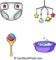 Children's diapers, a toy over the crib, a rattle, a children's bath. Baby born set collection icons in cartoon style vector symbol stock illustration web.