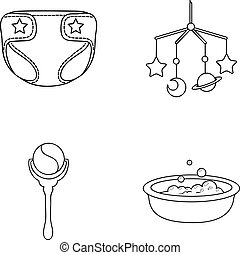 Children's diapers, a toy over the crib, a rattle, a children's bath. Baby born set collection icons in outline style vector symbol stock illustration web.
