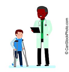 Children's doctor. The boy with a plastered leg and crutches...