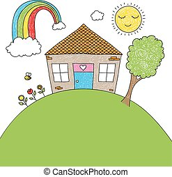 Childish doodle of a little house, rainbow, tree, flowers, bee with space for your text
