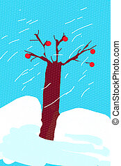 children's drawing - bare oak tree in snowy winter day