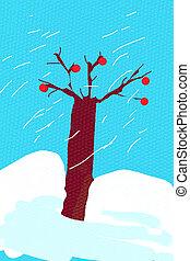 children's drawing - bare oak tree in snowy winter day